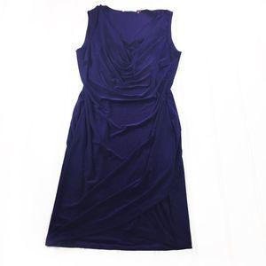 T Tahari Purple Ruching Sleeveless Sheath Dress M